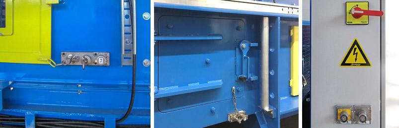Varnostne ključavnice na kanalni balirki