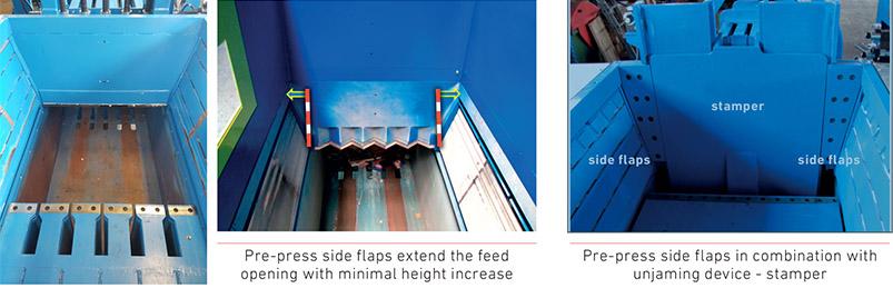 Puntos destacados de las solapas dobles de preimpresión – en ambos lados de la abertura de limado