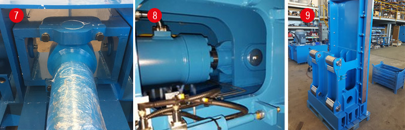 Potisni bat na valjastih drsnih ležajih, kardansko vpejte cilindra in sferično uležajena batnica