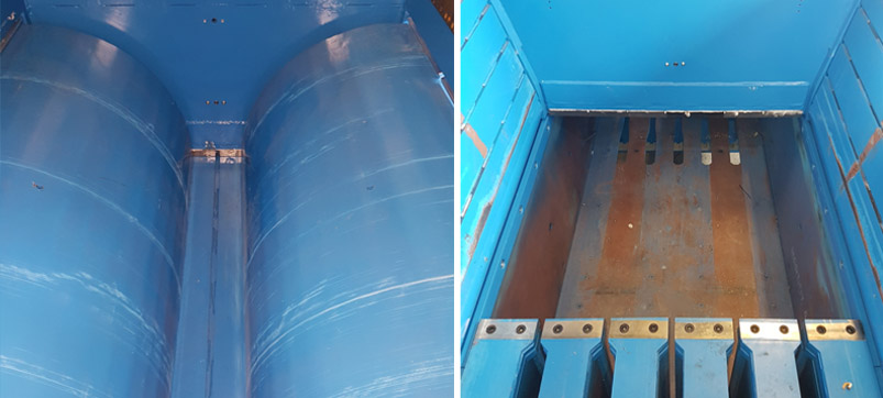 Shear blades double pre-compacting flap press