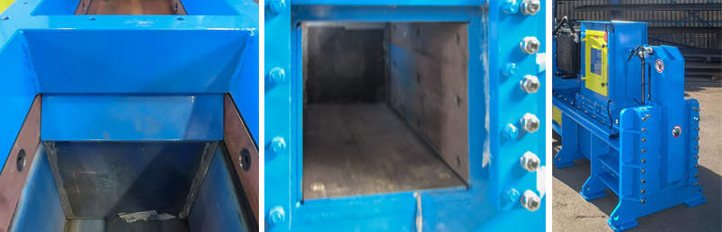 Closed end can baler press chamber