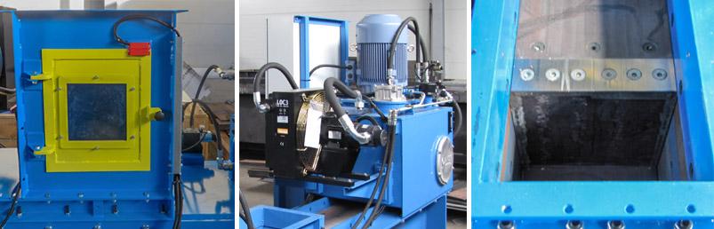 Shear blades inside press chamber of can baler