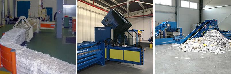 Ballennpressen Druckereien und Kartonherstellungsanlagen, in denen das Material mit Luft zugeführt, zerkleinert oder geschnitten wird