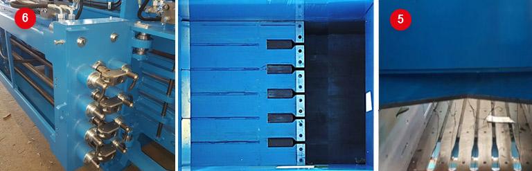 Kanalna balirka z vezalnimi trni in rezalnimi noži